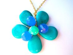 Flower pendant necklace wire wrapped with turquoise by StarJewels, $46.00