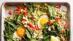 We've said it before and we'll say it again—sheet pan dinners are simply the best. With minimal clean-up and hands-on work needed, who wouldn't want to make this vegetarian dinner packed with vegetables and protein-rich eggs? Spinach Recipes, Egg Recipes, Brunch Recipes, Dinner Recipes, Cooking Recipes, Breakfast Recipes, Breakfast Ideas, Dinner Ideas, Side Dishes