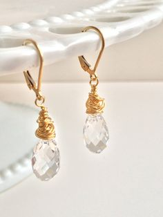 Crystal & Gold Earrings by ShawnPattDesigns on Etsy, $54.00