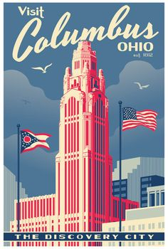 Columbus  Vintage Style Travel Poster by RedRobotCreative on Etsy