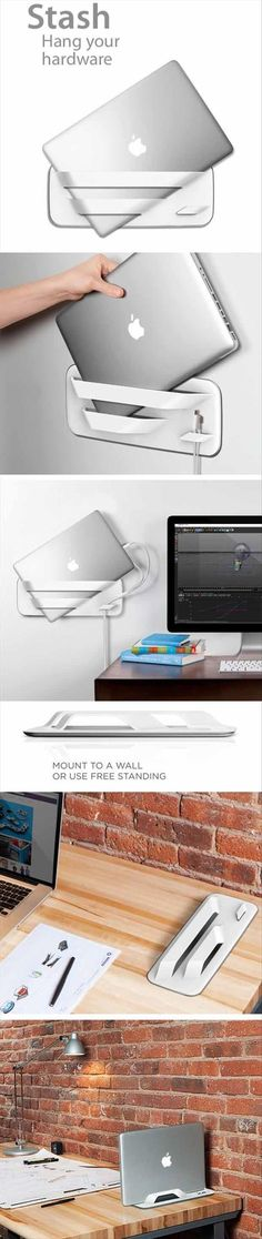 Hang on the wall or use free-standing. Clears desk/table space when you are not using notebook/tablet.....