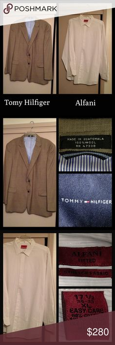 Men's Tommy Hilfiger Suit From Macy's Like new- worn one time only.  Men's Tommy Hilfiger Dinner Jacket, XXL, khaki/wheat color, 100% Wool, lined, no stains, inside pocket, no marks, dry cleaned.  Matching Dress Pants, flat front, size 36/32, no stains, no marks, dry cleaned.  Dress shirt Alfani brand, fitted, size XL, 17 1/2 neck, 34-35, no stains, cleaned.  (Jacket and pants will be sold together, Alfani shirt can be sold separately if interested.) Selling for my brother.  Jacket did not…