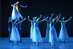 Who Is the Girl Who Arches Up to the Heavens at the End of Serenade? - www.dancemagazine.com/blogs/wendy/5205   Kyra Nichols and New York City Ballet in Serenade. Photo by Paul Kolnik, Courtesy NYCB
