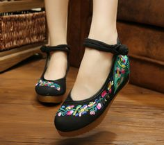 Women Casual Chinese Embroidered Floral High Heel Loafers Slippers Shoes XZ061 #Nibox #LoafersMoccasins #Casual
