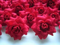 """Amazon.com - (100) Silk Red Roses Flower Head - 1.75"""" - Artificial Flowers Heads Fabric Floral Supplies Wholesale Lot for Wedding Flowers Accessories Make Bridal Hair Clips Headbands Dress - Fake Roses"""