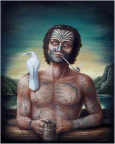 Between the Devil & the Deep - Liam Barr - NZ Polynesian People, Bay Of Islands, New Zealand Art, Nz Art, Maori Art, Art Portfolio, Illustration Art, Illustrations, Street Art