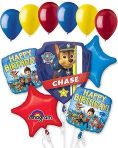 7 pc Paw Patrol Balloon Bouquet Party Decoration Happy Birthday Nick Jr. Chase