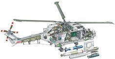 Westland Super Lynx 300 Military Helicopter, Military Aircraft, Westland Lynx, Aircraft Design, Technical Drawing, Cutaway, Airplane, Technical Illustrations, Concept Art