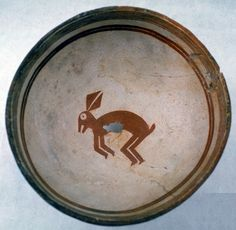 """Swarts / Rabbit / Dimensions: 7 7/8"""" Wide x 3 1/2"""" Deep / at Peabody. American Indigenous Mimbre pottery."""