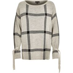 River Island Grey check print knit sweater (2 065 UAH) ❤ liked on Polyvore featuring tops, sweaters, grey, knitwear, women, long sleeve sweater, grey knit sweater, knit top, gray sweater and checkered sweater