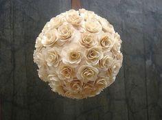 Flower Girl Pomander - Church Aisle Decor - Kissing ball - Natural- by AccentsandPetals made from Birch Shavings