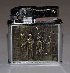 Vintage Rogers Cigarette Lighter, Colonial Army Panel.