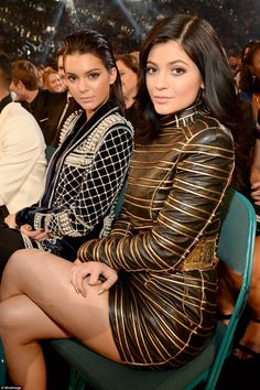 Sister, sister: Kylie and Kendall Jenner sat near the front as some of music's biggest acts performed