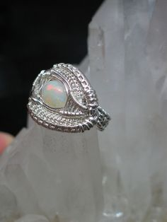 Opal Wire Wrapped Ring in Silver by PeacebirdStudio on Etsy, $168.00