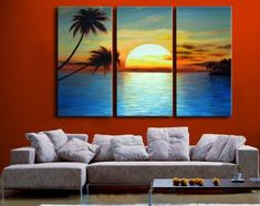 3171 handpainted 3 piece modern landscape oil painting on canvas wall art sunset beach and palm tree picture for home decor $48.00