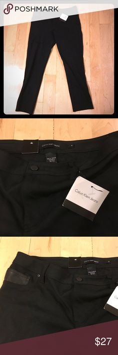 Calvin Klein black stretch skinny jeans size 14 Black stretch fabric skinny jeans in size 14 by Calvin Klein Jeans. New with tags. Fabric is 65% viscose, 29% nylon, and 6% elastase. Please note these are not cotton jeans! They are button and zip fly and have faux leather details on the back tag and one of the front pockets. Belt loops are also featured. Waist: 35-38 inches. Front rise: 10 inches. Inseam: 30 inches. Calvin Klein Jeans Jeans Skinny