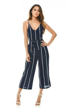 Navy Printed Culotte Jumpsuit - Silk Fred
