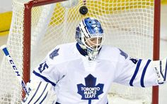 Toronto Maple Leafs goalie Jonathan Bernier (45) is scored on by the Edmonton Oilers during the first period of an NHL hockey game in Edmonton, Alberta, Monday, March 16, 2015. (AP Photo/The Canadian Press, Jason Franson)