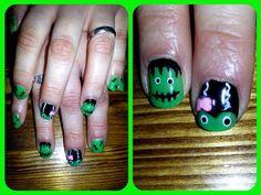 Decoracion frankenstein Shellac. Frankenstein decoration Nails desing Shellac