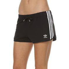 Womens Adidas Originals Slim Womens Shorts Black Cotton (230 DKK) ❤ liked on Polyvore featuring shorts, black, jogger shorts, women, stripe shorts, woven shorts, scalloped shorts, cotton drawstring shorts and elastic waist shorts