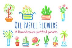 Cute Potted Flowers Pastel Clipart by SunsetWatercolors on @creativemarket