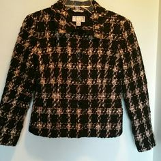 ✨HP✨Talbots Fuzzy Plaid Jacket/Blazer SP ❄️✨ Stylish Blazer by Talbots Collection Petites. Made from Italian Fabric, the feel and look is unique with its fuzzy checkered outer exterior of black and beige wool like feel. Speckled throughout with flecks of shimmer for a glistening look.  Measures 20 inches in length and 17 1/2-18 inches in width from under each arm. Sleeves measure 20 inches in length. This is in lovingly worn condition. Talbots Jackets & Coats Blazers