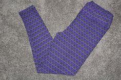 ecb041c94b072 LuLaRoe TC Tall & Curvy Purple Black Violet X & Triangle Print  Leggings Taiwan