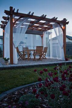 classic pergola with side curtains #pergoladesigns #pergolakitsdiy