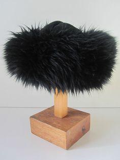 Vintage real sheepskin fur large black Russian cossack glamour hat mad men