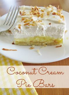 Coconut Cream Pie Bars |easier to slice and serve than a pie and perfect for a potluck! | www.thecountrycook.net