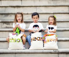 Trick or Treat Bag Halloween Applique Tote Bag Personalized Name Bag Boy or Girl.