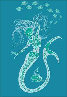 Women's Organic Mermaid Skeleton T-Shirt by TheMightySquirm