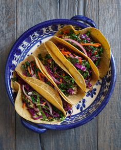 Grilled Fish Tacos with Avocado and Kale Slaw