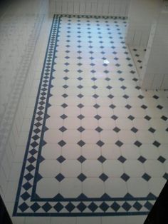 Edwardian Tiles - 100x100 White Octagon and Black Dot with Norwood Border