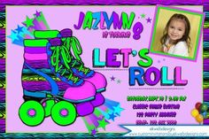 Make your child's birthday even more special with these custom Neon colored Roller Skating Party invitations! Roller Skating Party, Skate Party, Birthday Invitations Kids, Party Invitations, Bowling Party, Birthday Parties, 5th Birthday, Printable Party, Neon