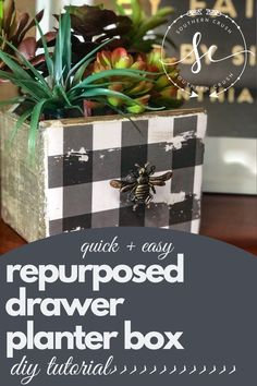 Learn how to repurpose any old drawer and turn it into a beautiful planter box! Use this trash to treasure DIY tutorial to make a planter box for your faux plants or live plants!  #planterbox #makeover #diy #fauxplants #farmhouse Diy Planter Box, Plastic Planter, Diy Planters, Colorful Succulents, Faux Succulents, Faux Plants, Diy Home Decor Projects, Cool Diy Projects, Simple Diy