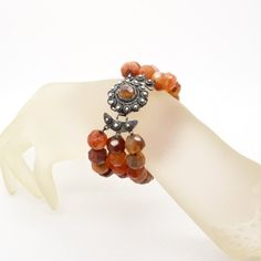 Antique Victorian Bracelet - Faceted Carnelian & 835 Silver Bracelet - Three String Carnelian Bracelet - Dutch Button Clasp - Traditional Klederdracht Jewellery at VintageArtAndCraft on Etsy
