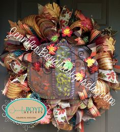 Gorgeous, Autumn Pumpkin Deco Mesh Wreath by Jennifer Boyd Designs.  www.etsy.com/shop/jenniferboyddesigns www.facebook.com/jenniferboyddesigns