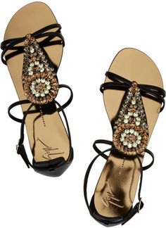 Shop on-sale Giuseppe Zanotti Crystal-embellished leather sandals. Browse other discount designer sandals & more on The Most Fashionable Fashion Outlet, THE OUTNET. Fall Booties, Fall Shoes, Crazy Shoes, Me Too Shoes, Bling Sandals, Leather Sandals Flat, Flat Sandals, Pretty Shoes, Giuseppe Zanotti