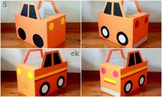 make cars from diaper boxes