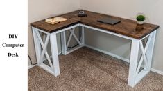 Today I'm doing a full tutorial on how to build an L-shaped computer desk packed with some extra features! This farmhouse style DIY computer desk is built co. Diy Office Desk, Diy Computer Desk, Top Computer, Computer Desk Organization, Office Free, Building A Computer Desk, Desk Dyi, Desk Setup, Gaming Setup