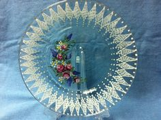 Rose and lace plate by TinasTimelessTreasur on Etsy