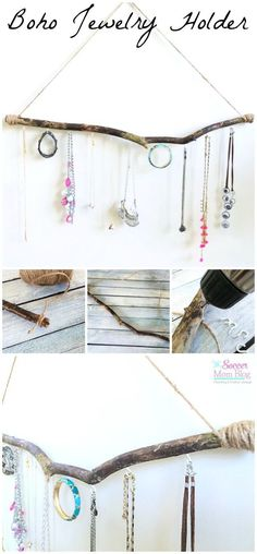 I love effortless bohemian style, and you can bring it into your home with this Boho Jewelry Holder. A simple DIY craft incorporating natural materials.