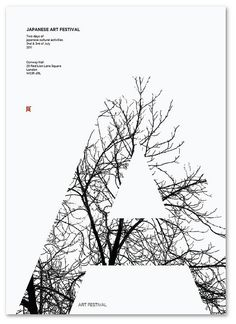 "Japanese Art Festival, ""A"", tree, black & white 