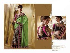 green-black-checkered-half-sari-design