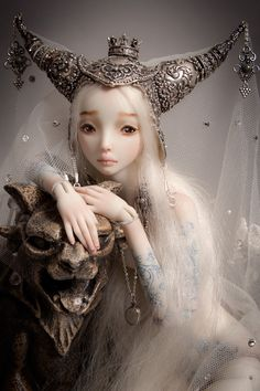 """""""Beauty and the Beast""""-- a phenomenal ball-joint-doll made of porcelain by artist Marina Bychova. The details on her dolls are amazing and exquisite!"""