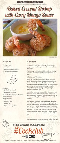 #CookClub recipe No. 36: Baked Coconut Shrimp with Curry Mango Sauce http://www.tampabay.com/things-to-do/food/cooking/cookclub-recipe-no-36-baked-coconut-shrimp-with-curry-mango-sauce-w-video/2218514
