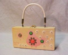 VINTAGE ec  ENID COLLINS WOOD BOX BAG PURSE SPRING CHIC JEWELLED  VERY NICE ! #Box