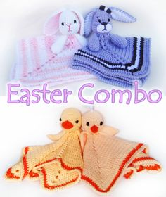 Easter Lovey Combo - Chick, Duck, and Bunny CROCHET PATTERN instant download - blankey, blankie, security blanket, rabbit. $7.50, via Etsy.
