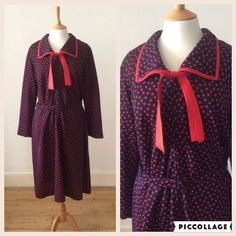 Vintage 1960s Navy Blue and Red Polka Dot Dress / by Cabinet49